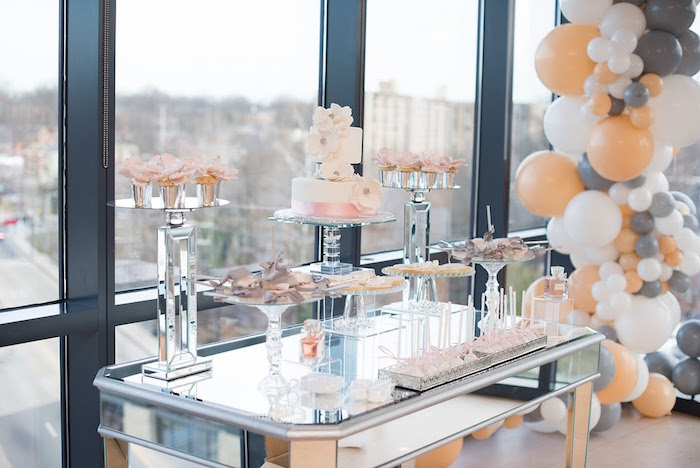 Dessert table from an Elegant Dior Inspired Birthday Party on Kara's Party Ideas | KarasPartyIdeas.com (31)