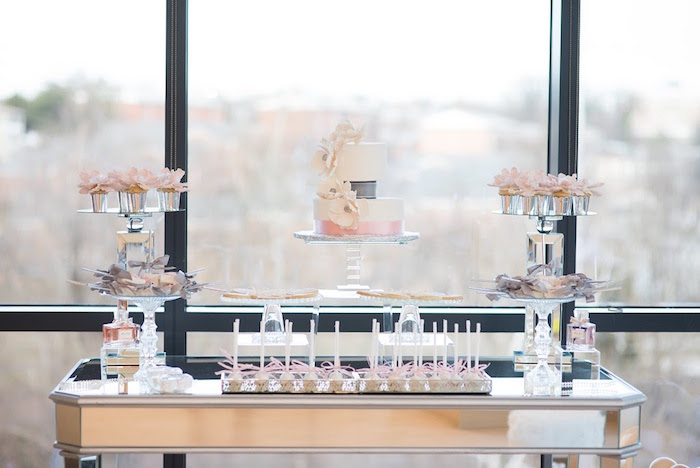 Dessert table from an Elegant Dior Inspired Birthday Party on Kara's Party Ideas | KarasPartyIdeas.com (30)