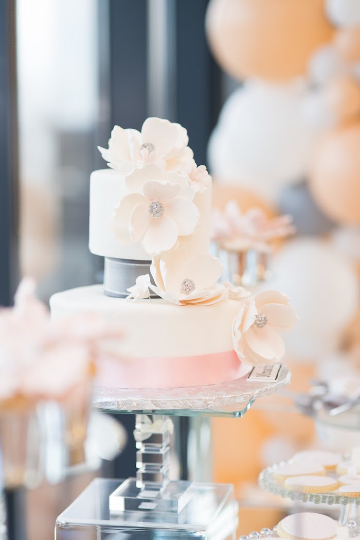 Cake adorned with sugar flowers from an Elegant Dior Inspired Birthday Party on Kara's Party Ideas | KarasPartyIdeas.com (29)