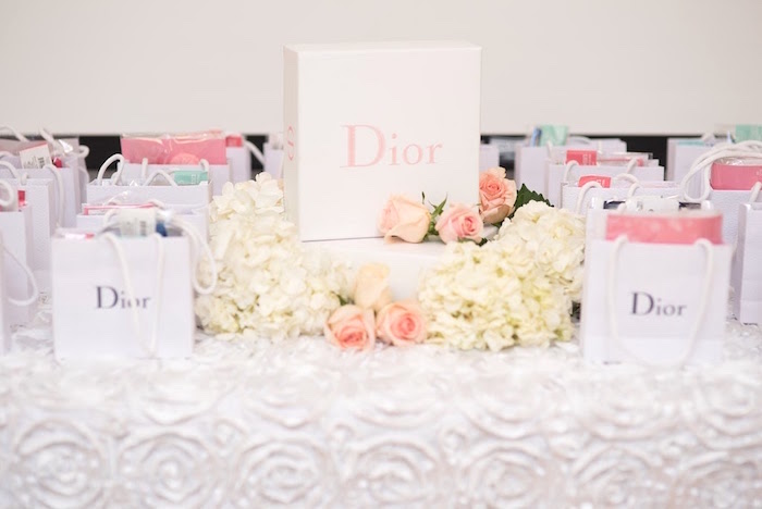 Dior favor bag table from an Elegant Dior Inspired Birthday Party on Kara's Party Ideas | KarasPartyIdeas.com (26)