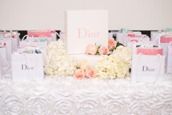 Dior favor bag table from an Elegant Dior Inspired Birthday Party on Kara's Party Ideas | KarasPartyIdeas.com (26)