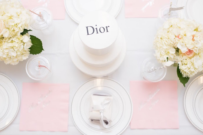 Place setting + dining tabletop from an Elegant Dior Inspired Birthday Party on Kara's Party Ideas | KarasPartyIdeas.com (24)