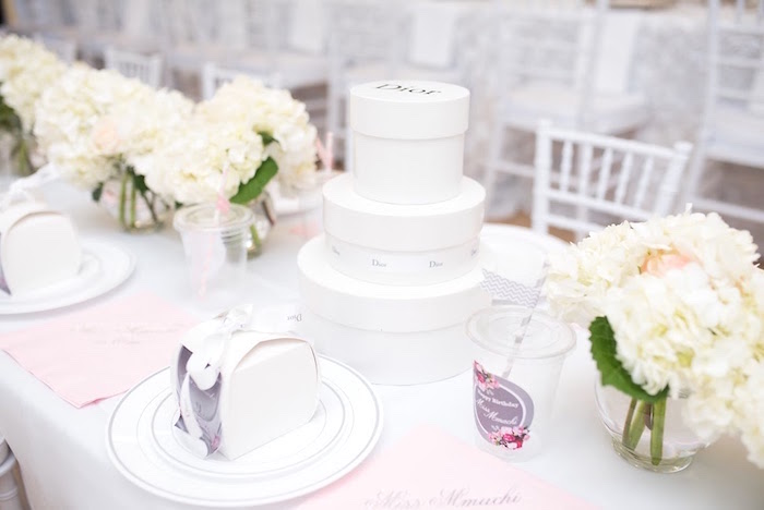 Stacked Dior box centerpiece from an Elegant Dior Inspired Birthday Party on Kara's Party Ideas | KarasPartyIdeas.com (23)