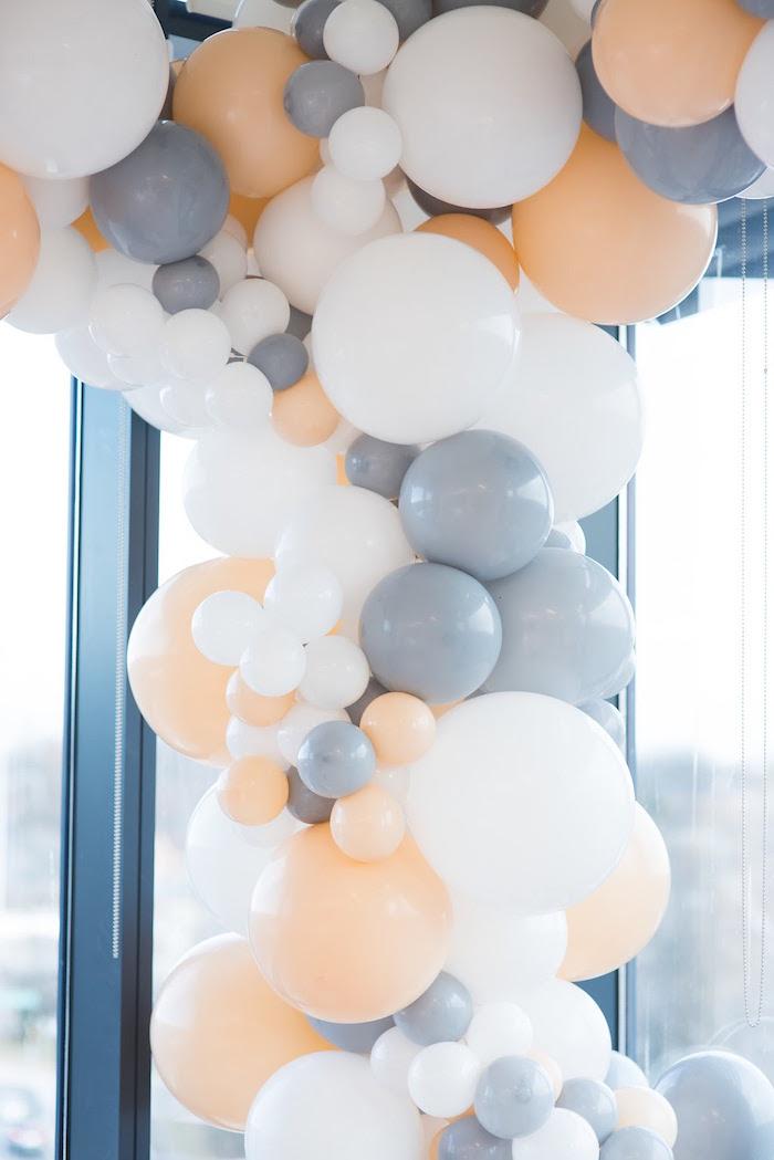 Balloon cascade from an Elegant Dior Inspired Birthday Party on Kara's Party Ideas | KarasPartyIdeas.com (41)