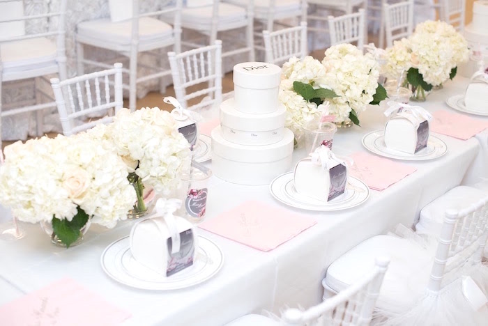 Dining table from an Elegant Dior Inspired Birthday Party on Kara's Party Ideas | KarasPartyIdeas.com (19)