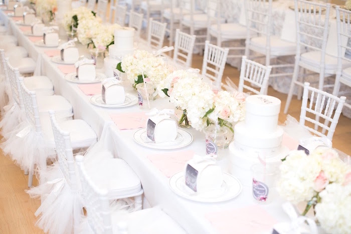 Dining table from an Elegant Dior Inspired Birthday Party on Kara's Party Ideas | KarasPartyIdeas.com (18)