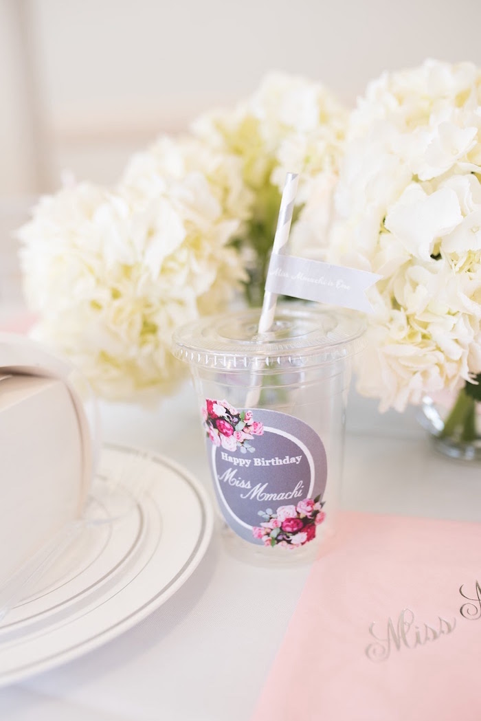 Drink cup from an Elegant Dior Inspired Birthday Party on Kara's Party Ideas | KarasPartyIdeas.com (15)