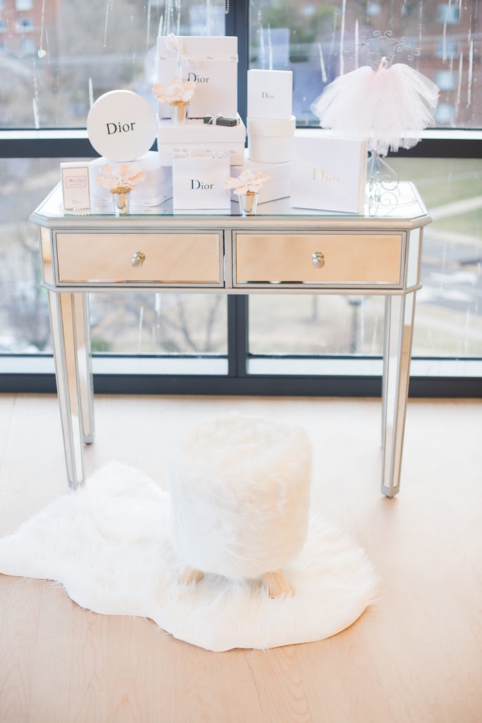 Mirrored table adorned with Dior boxes from an Elegant Dior Inspired Birthday Party on Kara's Party Ideas | KarasPartyIdeas.com (38)