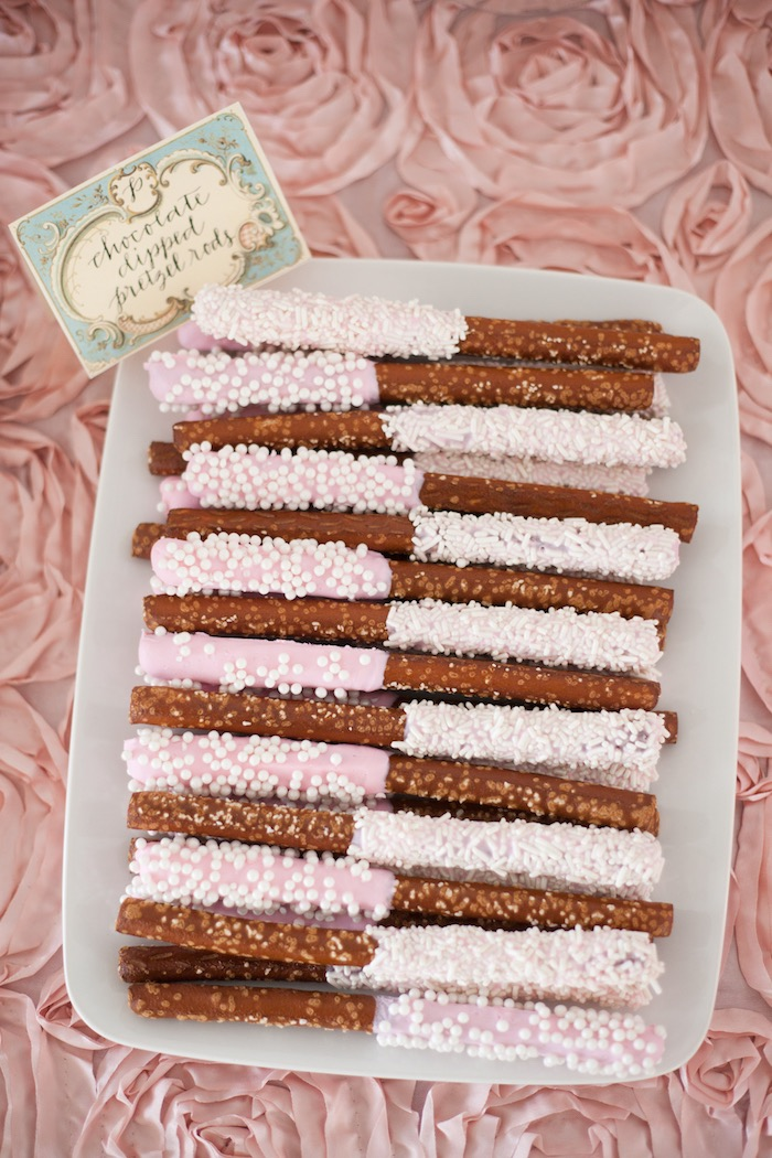Chocolate dipped pretzel rods from an Elegant Parisian First Birthday Garden Party on Kara's Party Ideas | KarasPartyIdeas.com (25)