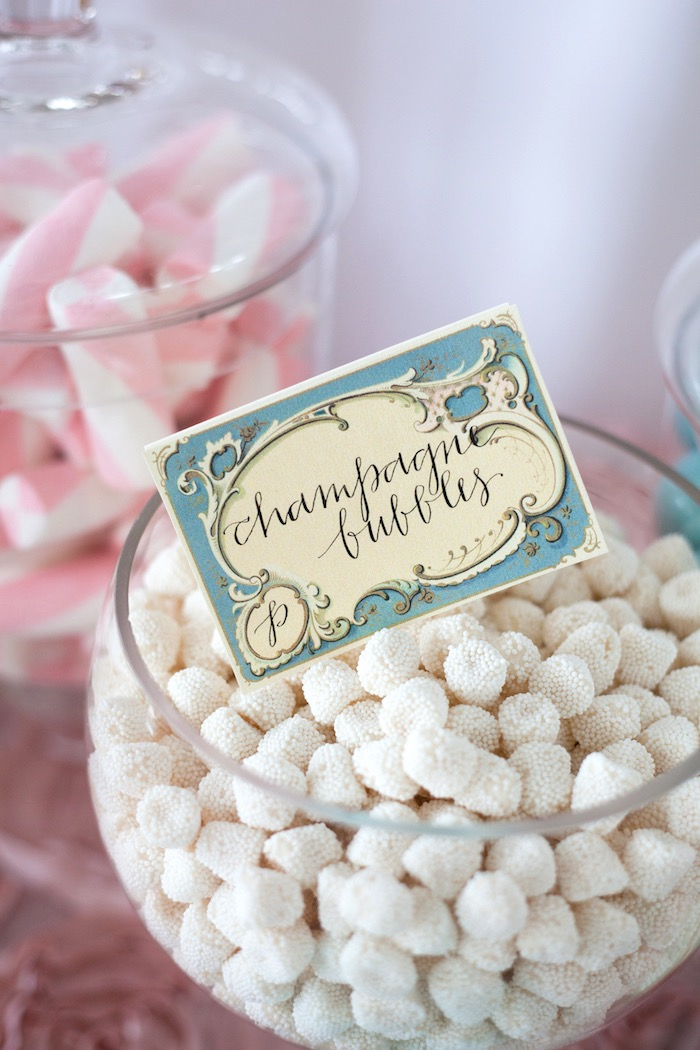 Sweet label + champagne bubbles from an Elegant Parisian First Birthday Garden Party on Kara's Party Ideas | KarasPartyIdeas.com (23)