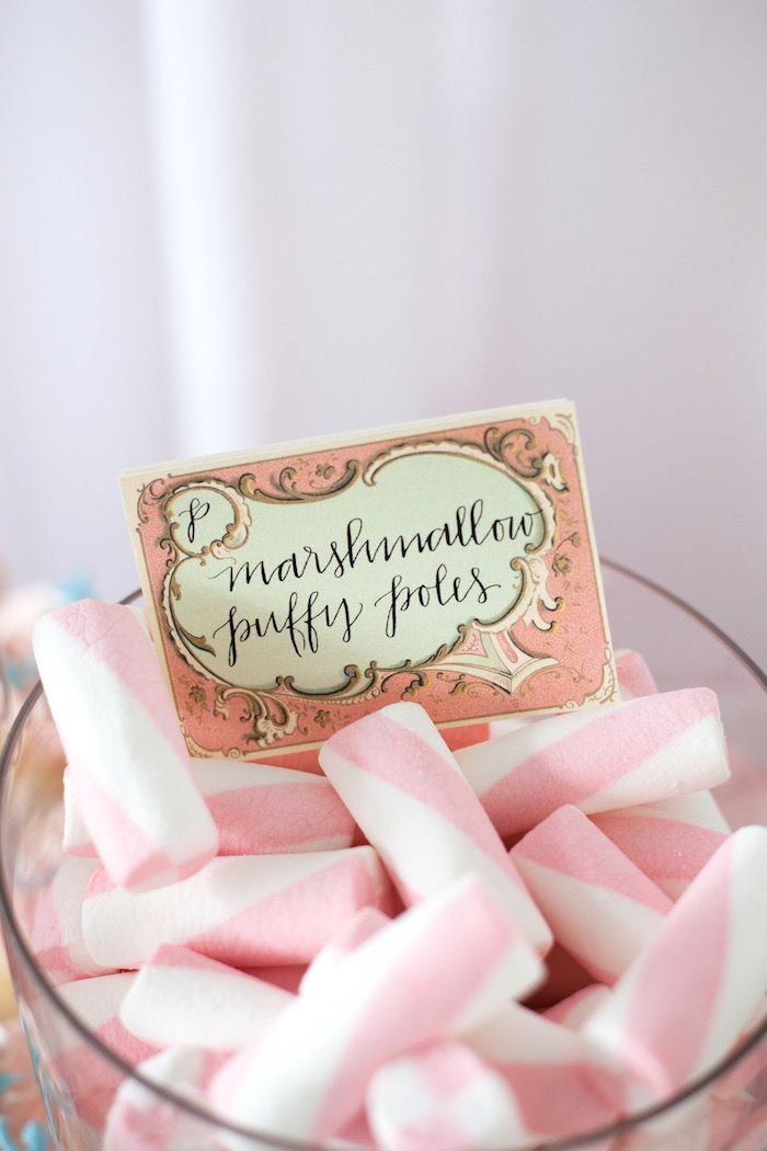 Parisian sweet label + marshmallow puff poles from an Elegant Parisian First Birthday Garden Party on Kara's Party Ideas | KarasPartyIdeas.com (22)