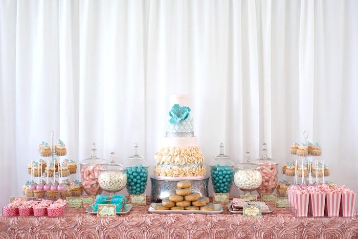 Dessert spread from an Elegant Parisian First Birthday Garden Party on Kara's Party Ideas | KarasPartyIdeas.com (20)