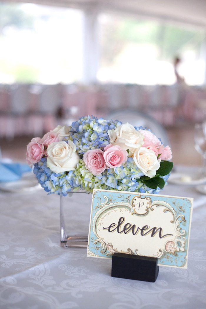 Table number card and blooms from an Elegant Parisian First Birthday Garden Party on Kara's Party Ideas | KarasPartyIdeas.com (9)