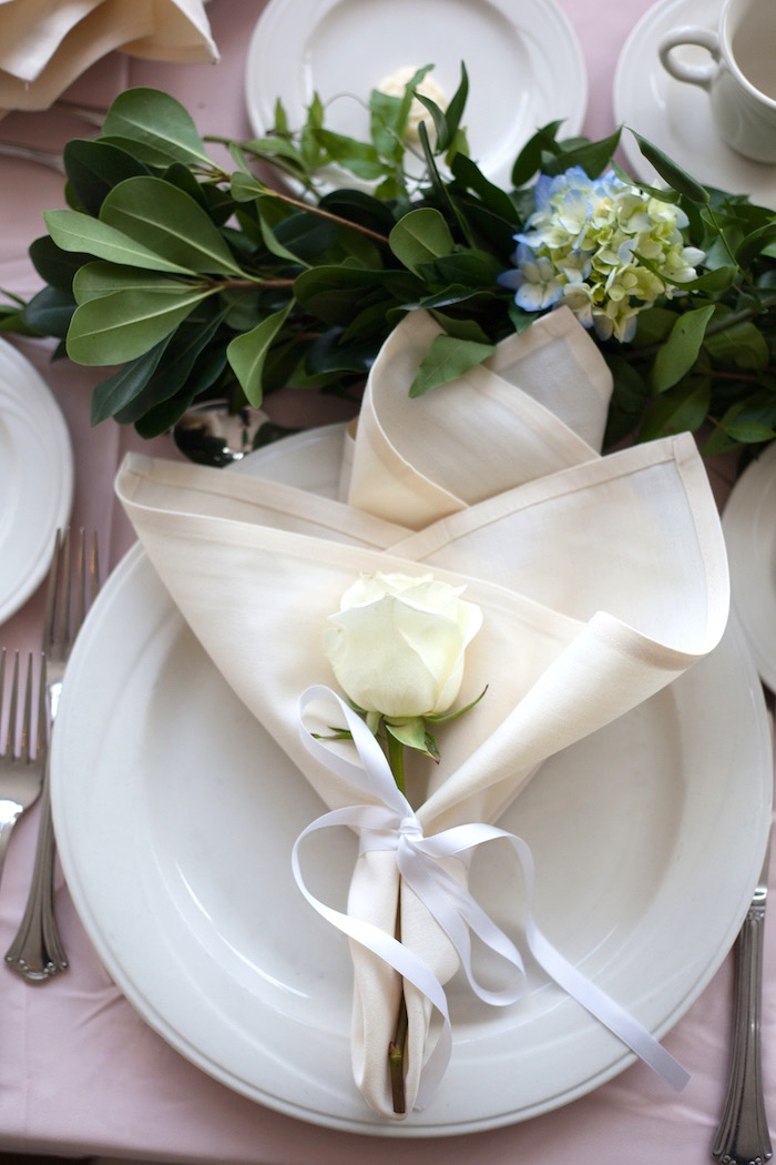 White rose place setting from an Elegant Parisian First Birthday Garden Party on Kara's Party Ideas | KarasPartyIdeas.com (8)
