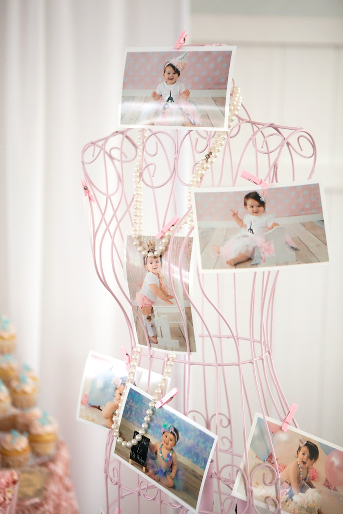 Wire dress form adorned with photos and pearls from an Elegant Parisian First Birthday Garden Party on Kara's Party Ideas | KarasPartyIdeas.com (5)