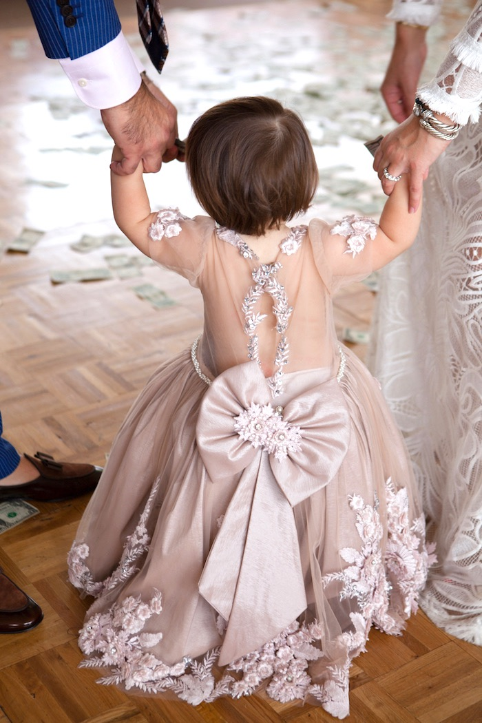 Back of dress from an Elegant Parisian First Birthday Garden Party on Kara's Party Ideas | KarasPartyIdeas.com (3)