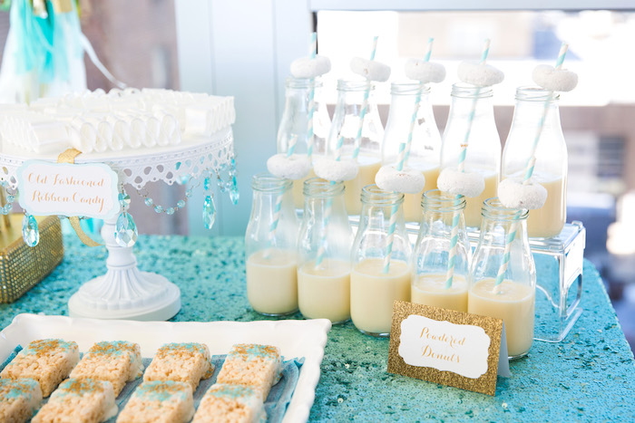 Milk jars from an Elegant Tiffany's Inspired Birthday Party on Kara's Party Ideas | KarasPartyIdeas.com (29)