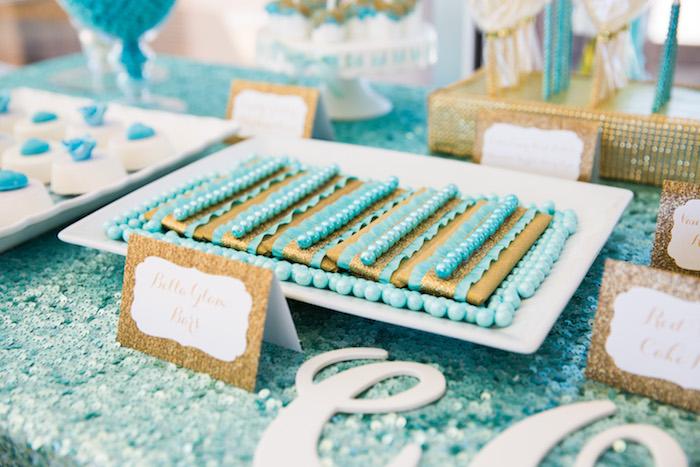 Glam candy bars from an Elegant Tiffany's Inspired Birthday Party on Kara's Party Ideas | KarasPartyIdeas.com (26)