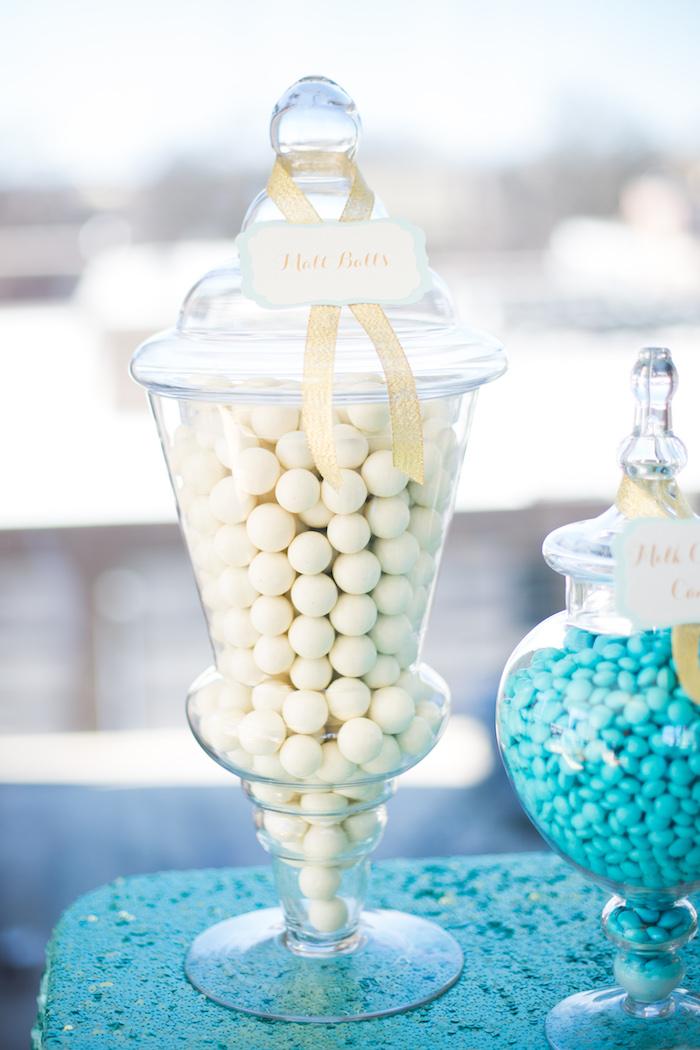 Candy jar from an Elegant Tiffany's Inspired Birthday Party on Kara's Party Ideas | KarasPartyIdeas.com (23)