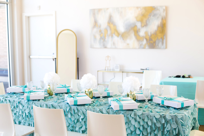 Guest table from an Elegant Tiffany's Inspired Birthday Party on Kara's Party Ideas | KarasPartyIdeas.com (41)