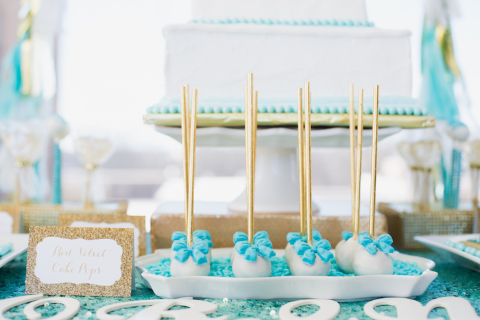 Cake pops adorned with blue bows from an Elegant Tiffany's Inspired Birthday Party on Kara's Party Ideas | KarasPartyIdeas.com (21)
