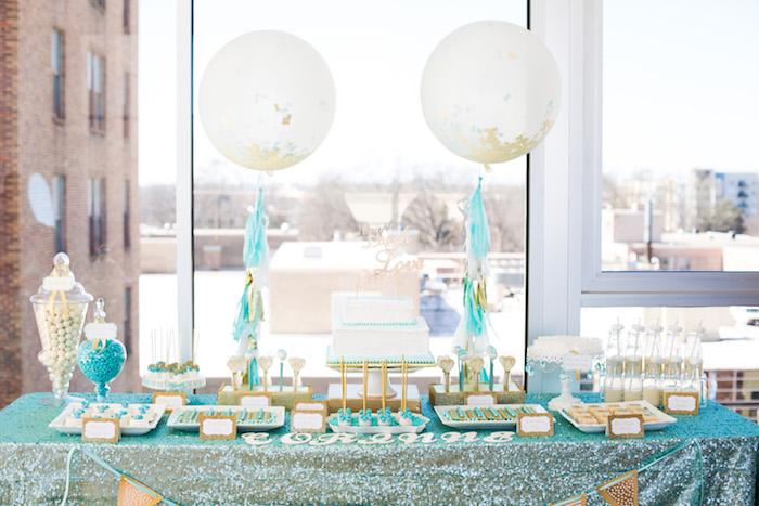 Dessert table from an Elegant Tiffany's Inspired Birthday Party on Kara's Party Ideas | KarasPartyIdeas.com (20)