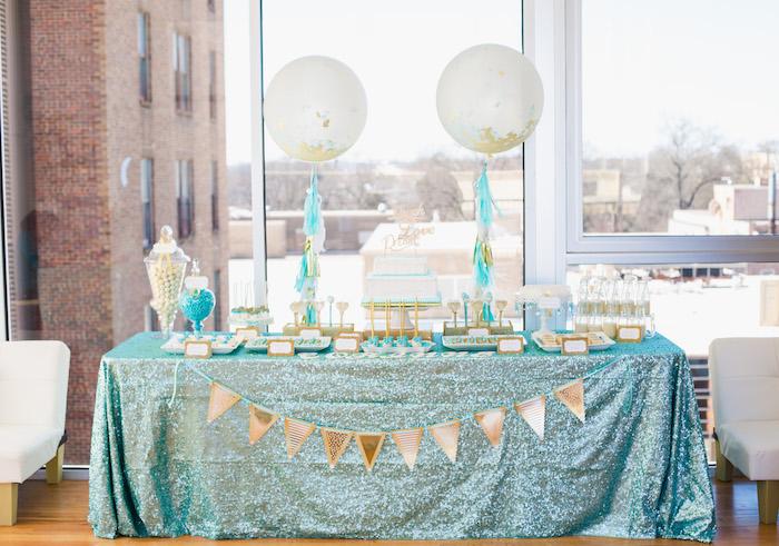 Dessert table from an Elegant Tiffany's Inspired Birthday Party on Kara's Party Ideas | KarasPartyIdeas.com (19)