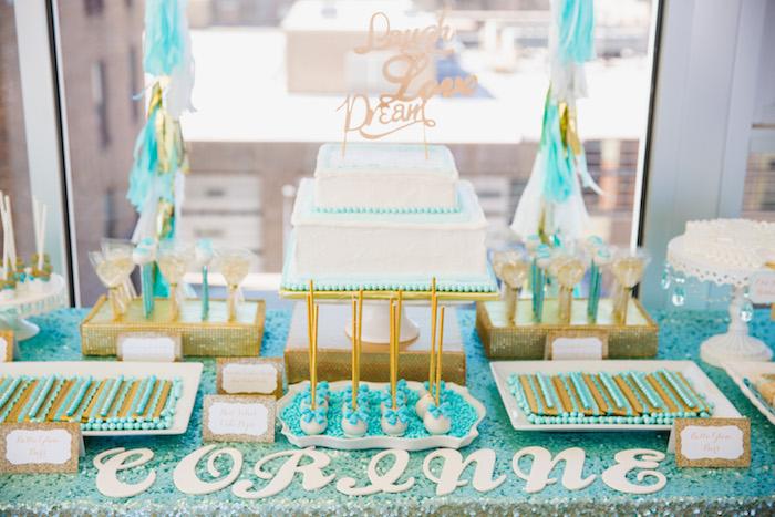 Cakescape from an Elegant Tiffany's Inspired Birthday Party on Kara's Party Ideas | KarasPartyIdeas.com (18)