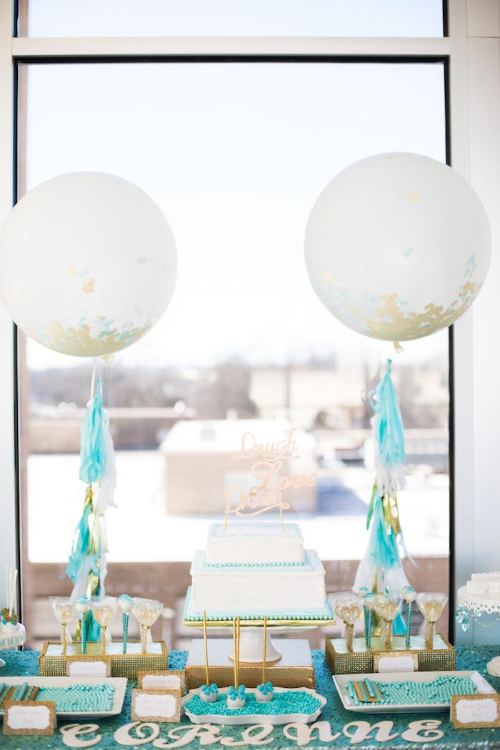 Cakescape from an Elegant Tiffany's Inspired Birthday Party on Kara's Party Ideas | KarasPartyIdeas.com (17)