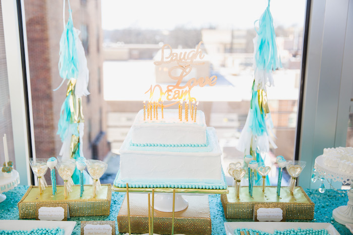 Cake from an Elegant Tiffany's Inspired Birthday Party on Kara's Party Ideas | KarasPartyIdeas.com (16)