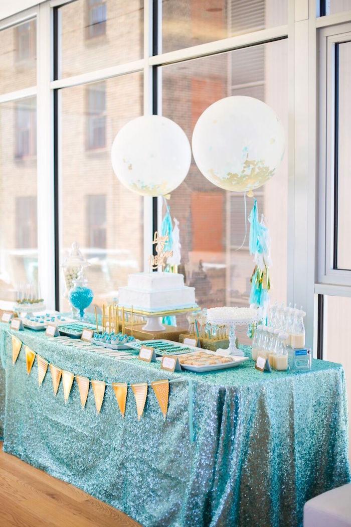 Dessert table from an Elegant Tiffany's Inspired Birthday Party on Kara's Party Ideas | KarasPartyIdeas.com (15)