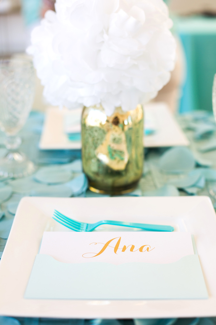 Place setting from an Elegant Tiffany's Inspired Birthday Party on Kara's Party Ideas | KarasPartyIdeas.com (14)