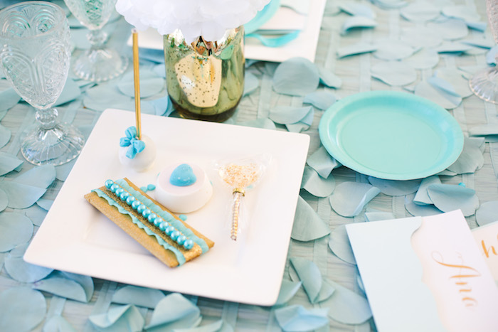 Place setting from an Elegant Tiffany's Inspired Birthday Party on Kara's Party Ideas | KarasPartyIdeas.com (13)