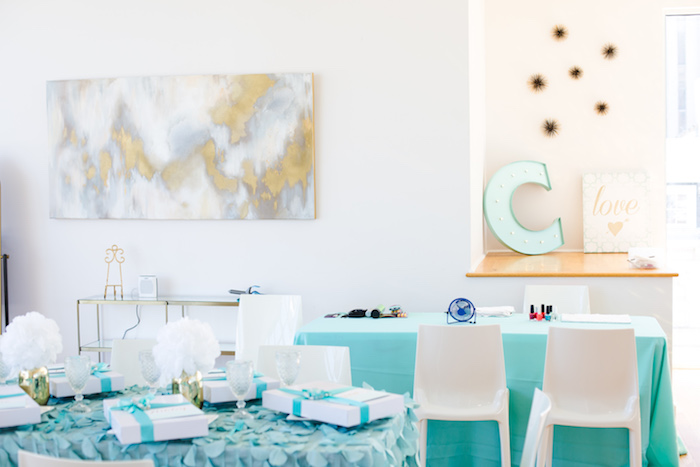 Party tables from an Elegant Tiffany's Inspired Birthday Party on Kara's Party Ideas | KarasPartyIdeas.com (40)