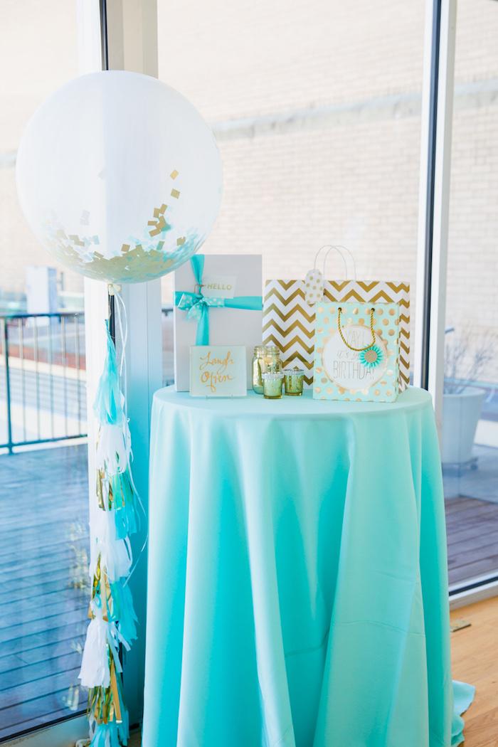 Gift table from an Elegant Tiffany's Inspired Birthday Party on Kara's Party Ideas | KarasPartyIdeas.com (8)