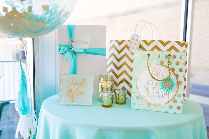 Gift Table From An Elegant Tiffanys Inspired Birthday Party On Karas Ideas