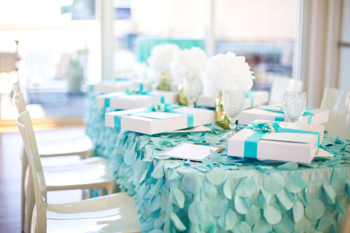 Guest table from an Elegant Tiffany's Inspired Birthday Party on Kara's Party Ideas | KarasPartyIdeas.com (39)