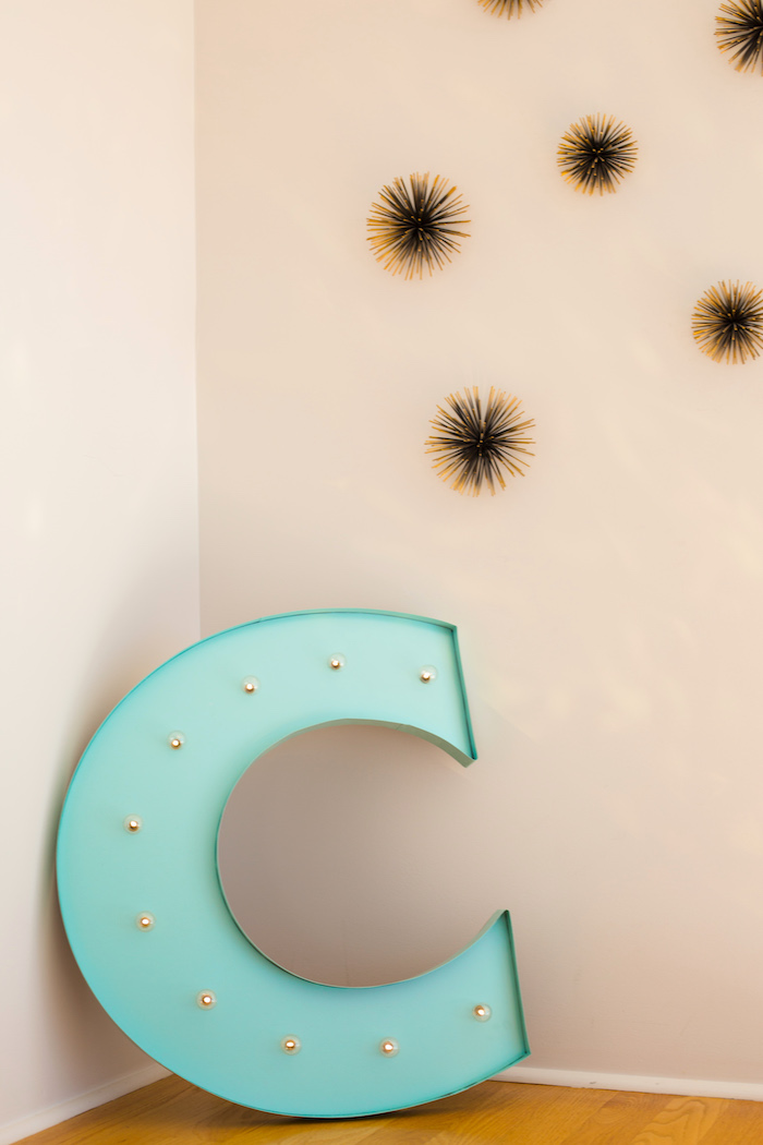 """Letter """"C"""" decoration from an Elegant Tiffany's Inspired Birthday Party on Kara's Party Ideas 