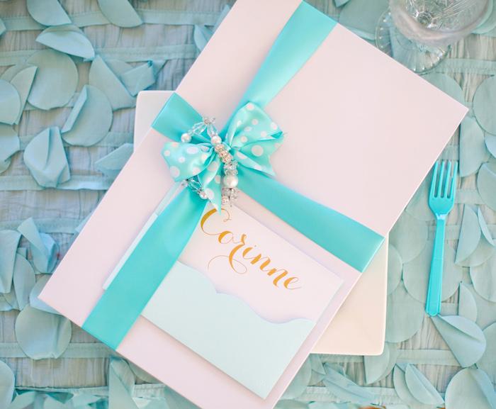 Gift box from an Elegant Tiffany's Inspired Birthday Party on Kara's Party Ideas | KarasPartyIdeas.com (36)