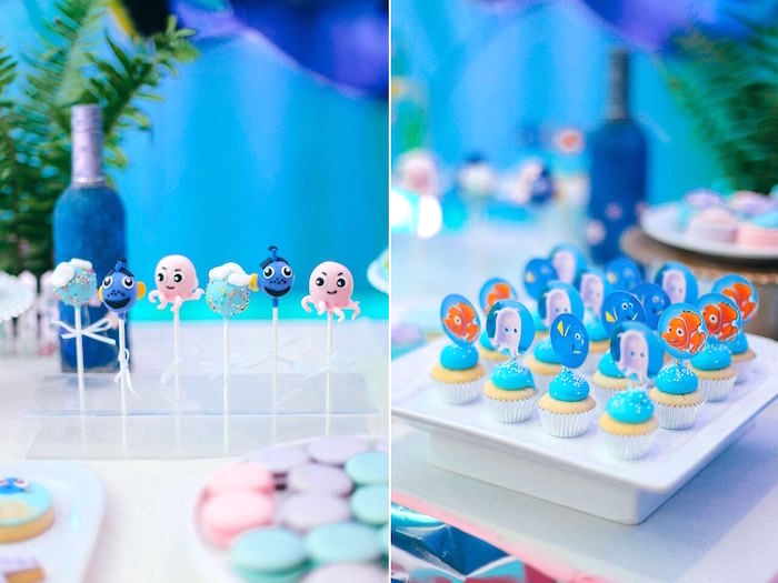 Character cake pops & mini cupcakes from a Finding Dory Under the Sea Birthday Party on Kara's Party Ideas | KarasPartyIdeas.com (10)