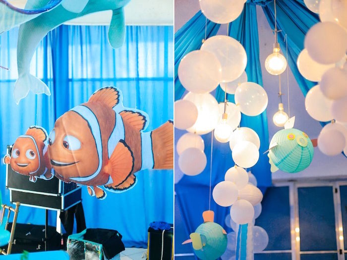 Nemo + Marlin & bubble lights from a Finding Dory Under the Sea Birthday Party on Kara's Party Ideas | KarasPartyIdeas.com (9)