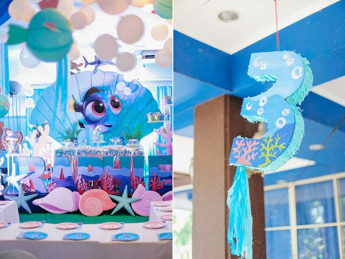 Dessert table & pinata from a Finding Dory Under the Sea Birthday Party on Kara's Party Ideas | KarasPartyIdeas.com (8)