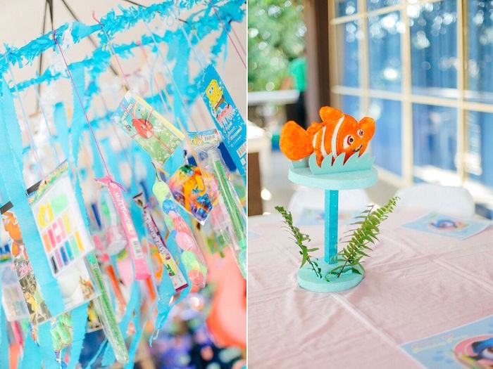 Seaweed favor chandelier from a Finding Dory Under the Sea Birthday Party on Kara's Party Ideas | KarasPartyIdeas.com (6)