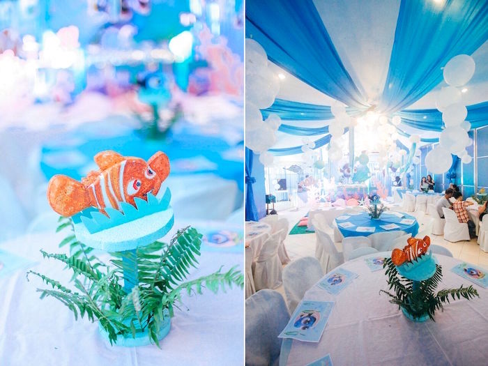 Nemo centerpiece from a Finding Dory Under the Sea Birthday Party on Kara's Party Ideas | KarasPartyIdeas.com (4)