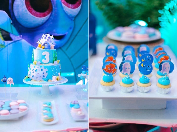 Cake & mini cupcakes from a Finding Dory Under the Sea Birthday Party on Kara's Party Ideas | KarasPartyIdeas.com (19)