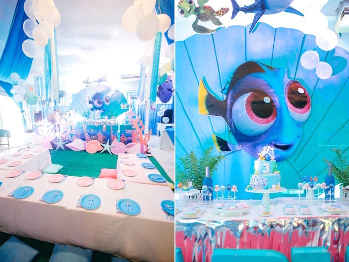 Party tables from a Finding Dory Under the Sea Birthday Party on Kara's Party Ideas | KarasPartyIdeas.com (16)