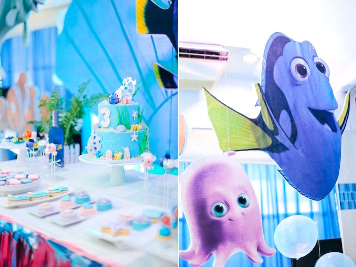 Cakescape & Dory decoration from a Finding Dory Under the Sea Birthday Party on Kara's Party Ideas | KarasPartyIdeas.com (11)