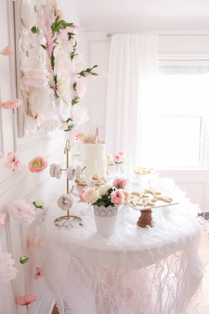 Unicorn dessert table side-view from a Floral Unicorn Birthday Party on Kara's Party Ideas | KarasPartyIdeas.com (19)