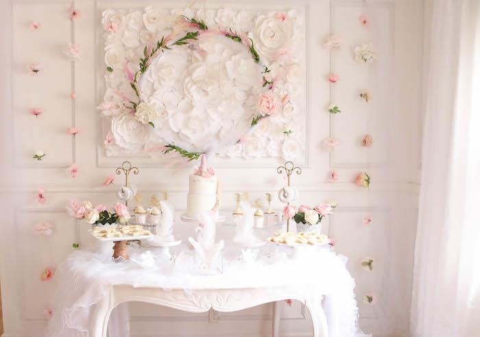 Dreamy dessert table from a Floral Unicorn Birthday Party on Kara's Party Ideas | KarasPartyIdeas.com (16)
