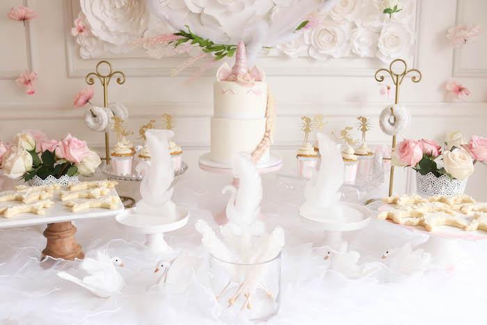 Dessert table detail from a Floral Unicorn Birthday Party on Kara's Party Ideas | KarasPartyIdeas.com (14)
